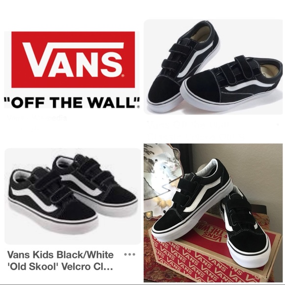 a5ff2eef34e Vans Black White Velcro Old Skool Sneakers Size 1